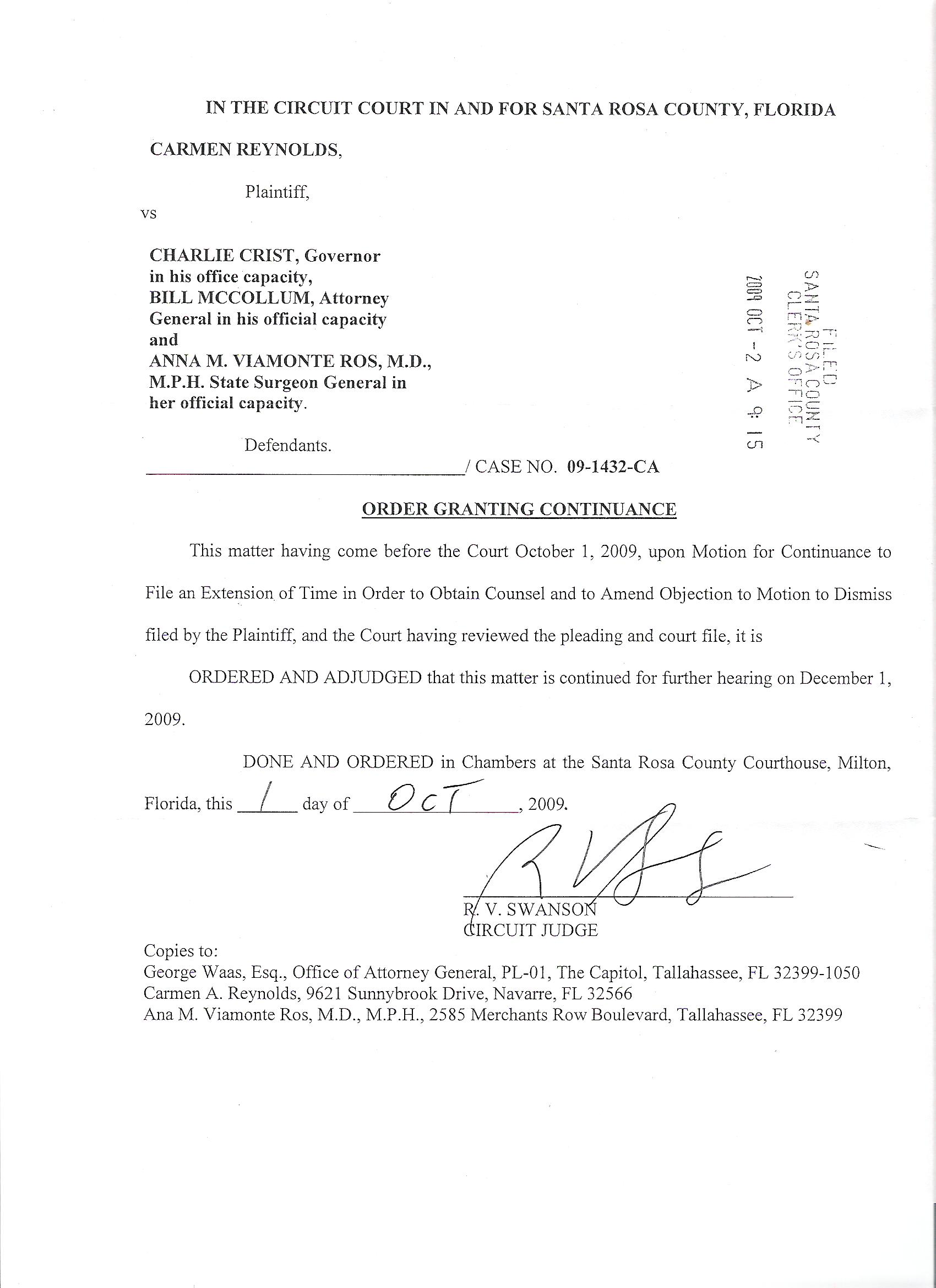 OrderGrantingContinuanceSettingHearing-001 Sample Complaint Letter To Attorney General Template on poor service, attorney general,